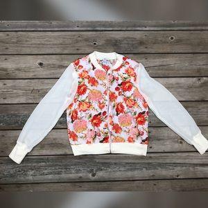 Bar lll floral zip bomber jacket
